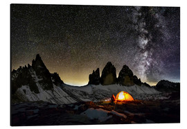 Aluminio-Dibond  Loneley camper with Milky Way at Dolomites - Dieter Meyrl