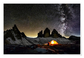 Póster  Loneley camper with Milky Way at Dolomites - Dieter Meyrl