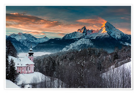 Póster Alpenglow at Watzmann