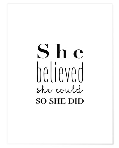 Póster She believed (inglés)