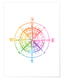 Póster Compass Watercolor