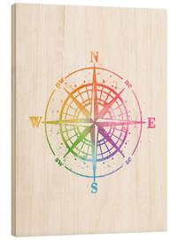 Cuadro de madera  Compass Watercolor - Mod Pop Deco