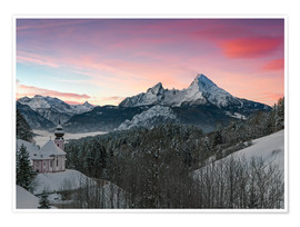 Póster Alpenglow in Bavarian Alps with Watzmann