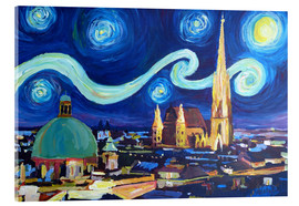 Cuadro de metacrilato  Starry Night in Vienna Austria   Saint Stephan Cathedral Van Gogh Inspirations - M. Bleichner