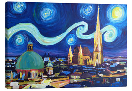 Lienzo  Starry Night in Vienna Austria   Saint Stephan Cathedral Van Gogh Inspirations - M. Bleichner