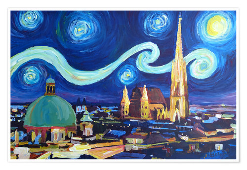 Póster Starry Night in Vienna Austria   Saint Stephan Cathedral Van Gogh Inspirations
