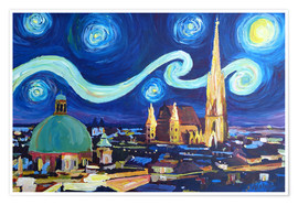 Póster  Starry Night in Vienna Austria   Saint Stephan Cathedral Van Gogh Inspirations - M. Bleichner