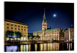 Cuadro de metacrilato  Moon over the town hall in Hamburg - Tanja Arnold Photography