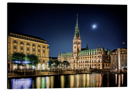 Cuadro de aluminio  Moon over the town hall in Hamburg - Tanja Arnold Photography