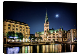 Lienzo  Moon over the town hall in Hamburg - Tanja Arnold Photography