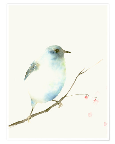 Póster Light blue bird