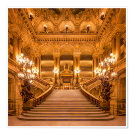 Póster Staircase of the Opera Garnier in Paris France