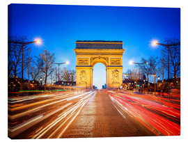 Lienzo  Arc de Triomphe and Champs-Elysees at night in Paris France - Jan Christopher Becke