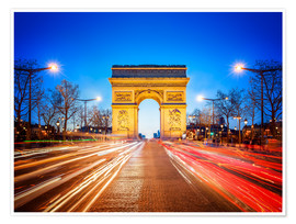 Póster Arc de Triomphe and Champs-Elysees at night in Paris France