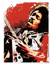 Póster  alternative jimi hendrix street art style illustration - 2ToastDesign