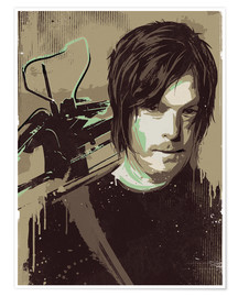 Póster alternative daryl dixon walking illustration