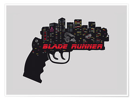 Póster  alternative blade runner rick deckard gun movie poster - 2ToastDesign