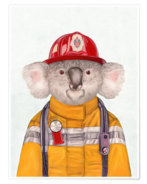 Póster  Koala Firefighter - Animal Crew
