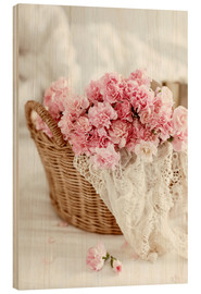 Madera  Pink Pastel Flowers in wicker basket