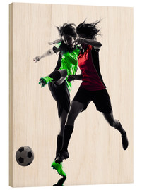 Cuadro de madera  two soccer players
