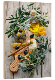 Madera  Green and black olives with bottle of olive oil