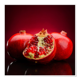 Póster  red pomegranate fruits