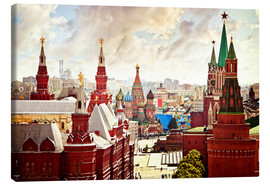 Lienzo  Aerial view of the Kremlin in Moscow, Red Square
