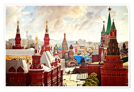 Aerial view of the Kremlin in Moscow, Red Square