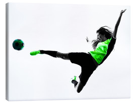 Lienzo  Female Footballer jumping