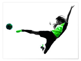Póster  Female Footballer jumping