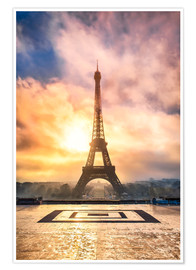 Póster  Eiffel Tower in Paris at sunset - Jan Christopher Becke