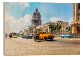 Cuadro de madera  Havana Capitol with Oldtimer - Reemt Peters-Hein