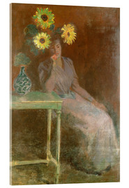 Cuadro de metacrilato  Sedentary woman next to a vase with sunflowers - Claude Monet
