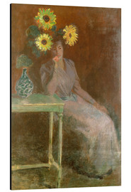 Aluminio-Dibond  Sedentary woman next to a vase with sunflowers - Claude Monet