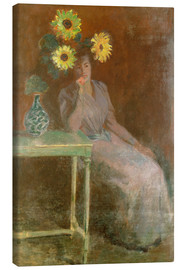 Lienzo  Sedentary woman next to a vase with sunflowers - Claude Monet