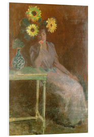 Cuadro de PVC  Sedentary woman next to a vase with sunflowers - Claude Monet
