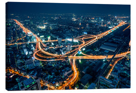 Lienzo  Aerial view of Bangkok at night - Jan Christopher Becke