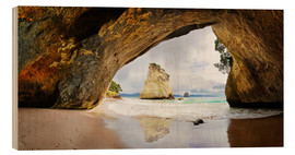 Cuadro de madera  Cathedral Cove - New Zealand - Michael Rucker