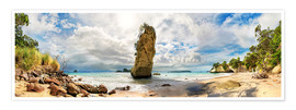 Póster Dream beach - Cathedral Cove Beach - New Zealand