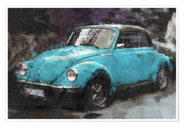 Póster  VW käfer blue - LoRo-Art