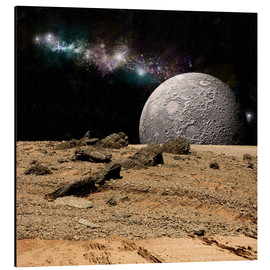 Cuadro de aluminio  A moon rises over a rocky and barren alien landscape. - Marc Ward