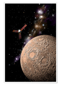 Póster A probe investigating a heavily cratered moon in deep space.