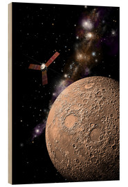 Cuadro de madera  A probe investigating a heavily cratered moon in deep space. - Marc Ward