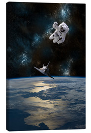Lienzo  An astronaut drifting in space is rescued by a space shuttle orbiting Earth. - Marc Ward