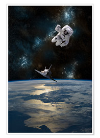 Póster  An astronaut drifting in space is rescued by a space shuttle orbiting Earth. - Marc Ward