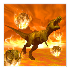 Póster Tyrannosaurus Rex struggles to escape from a meteorite crash.