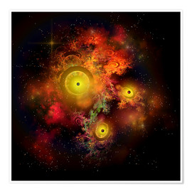 Póster  A collection of colorful nebulae, gases, dust, stars and interstellar matter. - Corey Ford