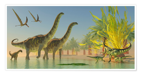 Póster Deinocheirus dinosaurs watch a group of Argentinosaurus walk through shallow waters.