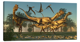 Lienzo  A pack of Dilophosaurus dinosaurs hunting for prey. - Corey Ford