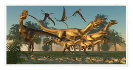 Póster A pack of Dilophosaurus dinosaurs hunting for prey.